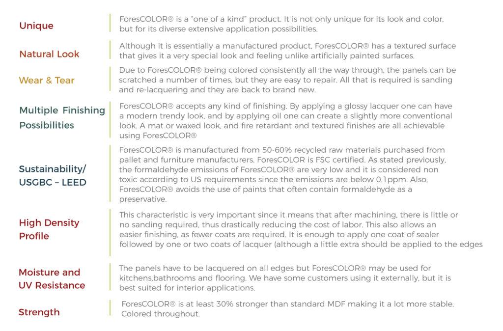 Forescolor-characteristics